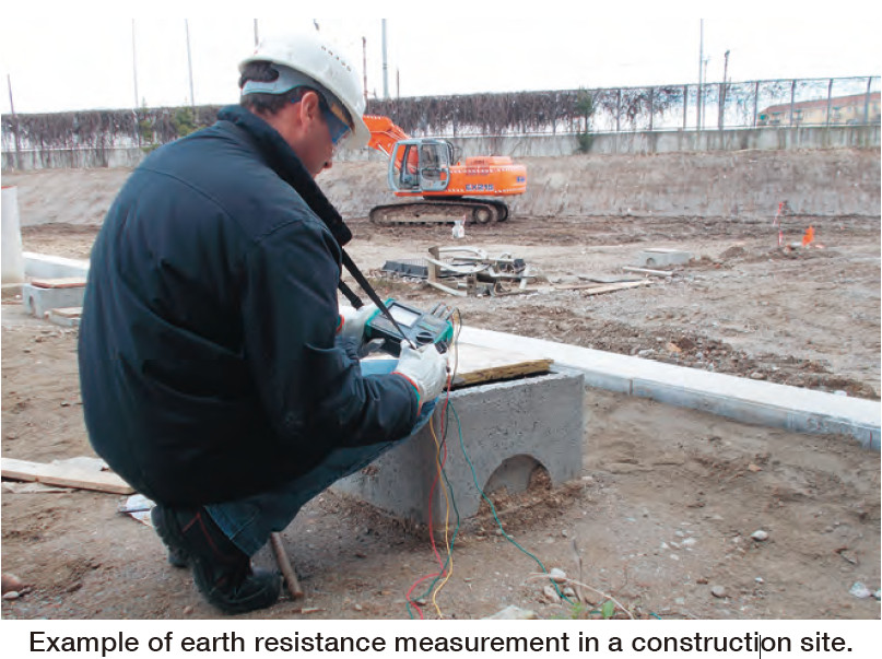 Example of earth resistance measurement in a construction site.